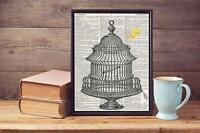 Old Birdcage Sketch Tweety Pie  Upcycled Vintage Dictionary Page Art Print A4