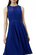 HOBBS COBALT BLUE TEXTURED CREPE CHIFFON FIT&FLARE OCCASION DRESS UK 10 RRP £159
