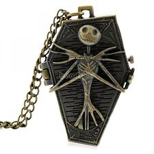 Vintage Pocket Watch Quartz Pendant Necklace Steampunk Skull Bronze RetroAntique