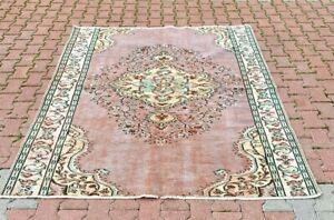 Pale Purple Area Rug Turkish Vintage Bohemian Style Handmade Wool Carpet 6x7 ft