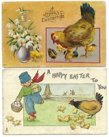 Lot of 2 Antique Easter Postcards Chicks Eggs Eastertide Flowers Tuck's Dutch