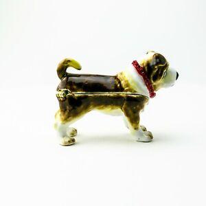 Dog Faberge Trinket Box Handmade by Keren Kopal Austrian  Crystals