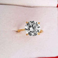 14K Real Yellow Gold 5 Carat Round Cut Solitaire Diamond Engagement Ring