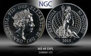 2015 GREAT BRITAIN 50 POUNDS BRITANNIA NGC MS 69 DPL SILVER RARE