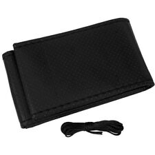 "15""/38cm Black Auto Car Steering Wheel Cover Leather DIY Needle Thread Universal"