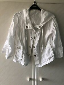 Marks and Spencer White Cotton Hooded Jacket - Size 12