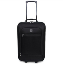 18' Suitcase Case Carry-On Luggage Black Wheels Rolling Travel Handle Pocket NEW