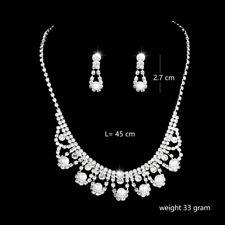 White Pearls Crystal Flowers Silver Necklace Earrings Set Costume Jewellery