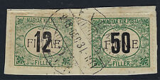 FIUME :1918 Overprint on Hungary 12f+50 Postage Due SGD30/1 used piece-FORGED cl