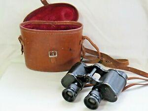 Kershaw Binoculars w Graticule. WW2 1943 No.2 Mk II. Branded Leather Case. x6