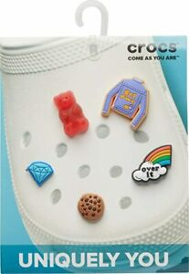 New Crocs Jibbitz Charms 5-Pack Get Over It Small GRL POWER COOKIE Rainbow
