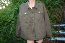 Beme Coloured DENIM JACKET Khaki NEW SIZE 18 RRP$79.99 Stud Trim & Pocket Detail