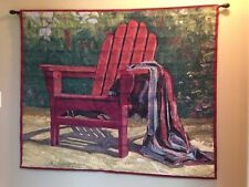 "Red Adirondack Chair Still Life 44""x52"" Cotton Woven Tapestry Wall Hanging NEW"