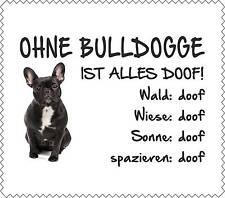 """Displaytuch SCHWARZE Französische Bulldogge """"ALLES DOOF"""" Brillenputztuch GT0039"""