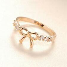 Korean Fashion Women's Girls Jewelry Simple Crystal Bow Finger Ring Dree Gifts