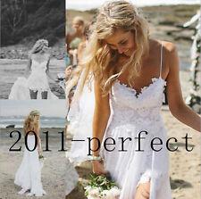 Stock Beach Wedding Dress Spaghetti Lace Chiffon Bridal Gown Size 4 6 8 10 12 14