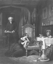 DEATH OF POET WRITER SIR WALTER SCOTT, DAUGHTER ~ Old 1855 Art Print Engraving