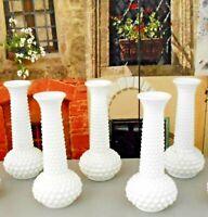 White Milk Glass Milkglass E O Brody Hobnail Bumps Bud Flower Wedding Vases (5)