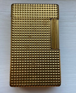 S T DUPONT CIGARETTE LIGHTER GOLD PLATED OR BRADS DIAMOND POINT DESIGN, NO RES!