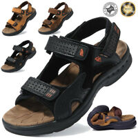Men's Genuine Leather Fisherman Beach Sports Sandals Waterproof Shoes UK 6 7 8 9