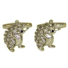 Gift Pouch Wildlife Countryside Animal Silver Hedgehog Detailed Cufflinks With