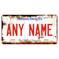 US Metal License Plate - Massachusetts Rusted, Personalise your own plate
