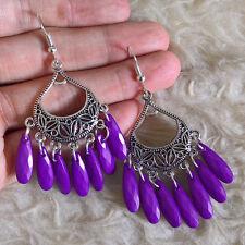 Beads Dangle Hook Earrings Vintage Womens Bohemian Antique-Pattern-Plate Purple