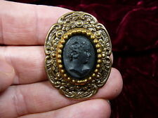 (CT1-20) LADY flowers black oval CAMEO flower brass Pin Pendant Jewelry brooch
