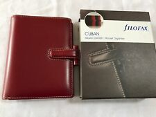 FILOFAX/ORGANISER-CUBAN POCKET-LUXURY V RARE RED ITALIAN SADDLE LEATHER-BOXED