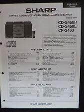 Original Service Manual  Sharp CD-S450H   CD-S450E    CD-S450