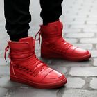 Fashion Mens Lace Up Back Zip Flats Casual Sport Shoes Boots High Top Sneakers