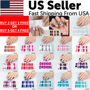 Full Size Nail Wraps Stickers Polish Manicure Art Self Stick Decor 3D Strips USA