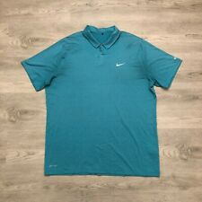 Nike Tiger Woods Collection Mens Turquoise Polo Shirt Micro Striped Size 2XL