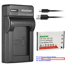 Kastar Battery Slim Charger for Casio NP-20 BC-11L & Casio Exilim EX-S3 EX-S100