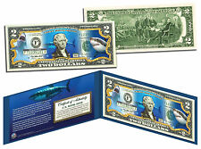 GREAT WHITE SHARK Genuine Legal Tender U.S. $2 Bill Banknote Currency COA Folio