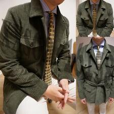 Vintage Corduroy Safari Suits For Men Causal Leisure Fit Blazers Coats With Belt