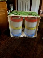 Libbey Striped Cooler Vintage Glasses W/ Original Packing Set 4 Red-Yellow-Blue