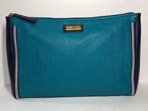 Estée Lauder Faux Leather Makeup Bag (Teal Blue & Navy Blue)