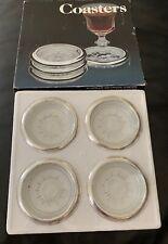 Set Of 4 Vintage Leonard Crystal Silver Rim Ashtrays Coasters Italy Starburst