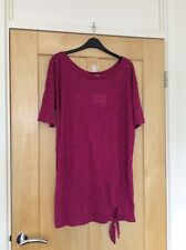 Anne Klein Purple Pink Tie Front T-shirt Tunic Top Size L 12 14 BNWT New
