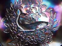 """Vintage Millersburg TROUT & FLY Carnival Glass Bowl 8 3/4"""" Wide x 2 3/4"""" Tall"""