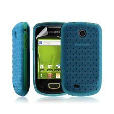 Housse coque etui gel tresse pour Samsung Galaxy Mini S5570 couleur bleu + Film