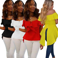 Women Boat Neck Solid Color Casual Club Party Long Tailed Tops Shirt Blouses