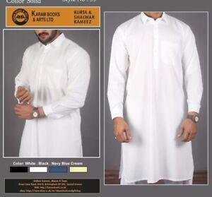 Mens  Shalwar Kameez4 Colour WHITE  Black Kareem Nave Collar