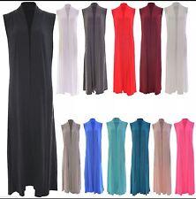 New Ladies Womens Sleevless Long Maxi Open Boyfriend Cardigan Kimono Outerwear