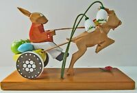 Erzgebirge 100 Wood Carved Bunny Egg Cart Pulled By Goat East Germany Vintage