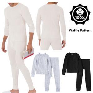 Mens 100% Cotton Top & Bottom 2PC Set Waffle Knit Thermal Long Johns Underwear