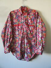 1990s Norris SHIRT Small Collar Oversized Red  Flowers Cotton FESTIVAL Sz S 42""