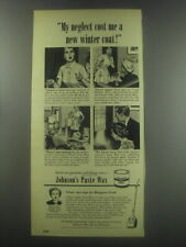 1951 Johnson's Paste wax Ad - My neglect cost me a new winter coat