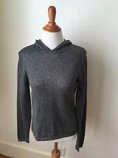 Jones New York Sport Gray Metallic Hoodie Sweater sz MEDIUM (LD14)